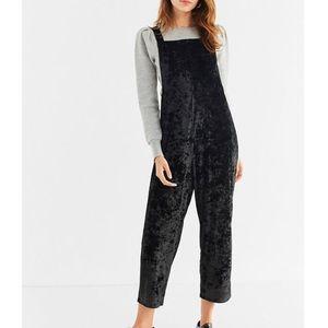 NWOT Urban Outfitters Black Velvet Jumpsuit